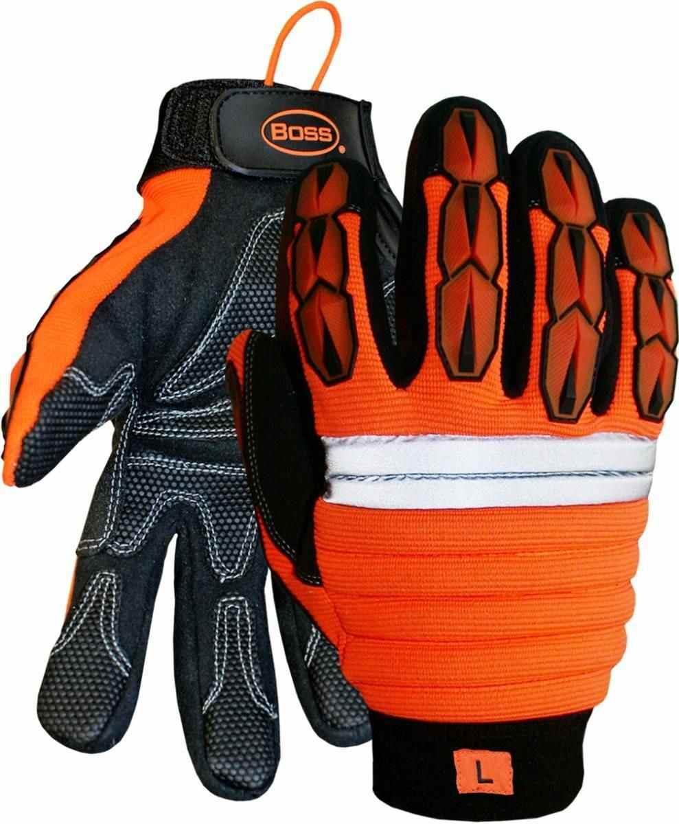 Boss 1JM500 Hi-Vis Impact Gloves with Reinforced Palms