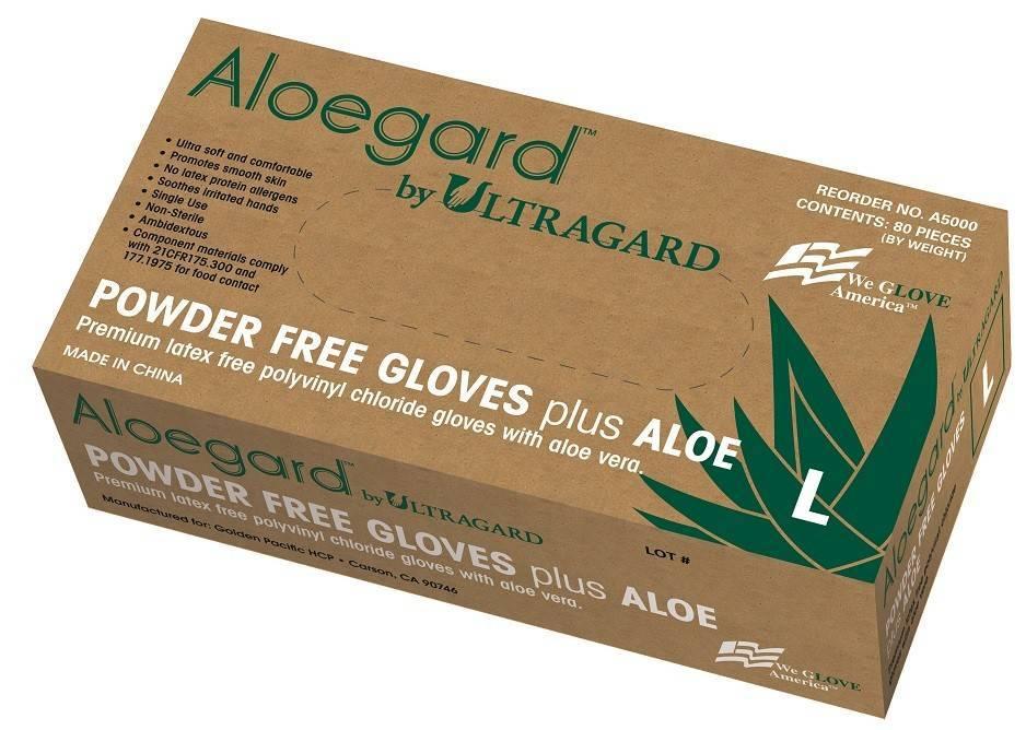 Aloegard A5000 4 Mil Vinyl Stretch Powder Free Gloves with Aloe Vera