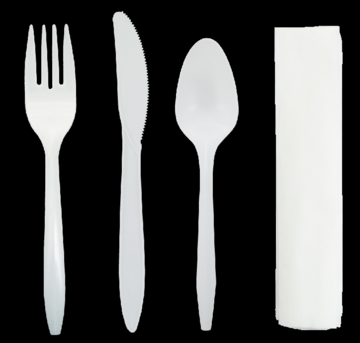 Disposable Cutlery Kit - Includes Knife, Spoon, Fork & Napkin