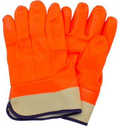 Safety Zone Orange Jersey Insulated PVC Gloves with Safety Cuff