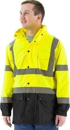 Majestic 75-1305/75-1306 Hi Vis Waterproof Rain Jacket with Snap Closure - ANSI 3