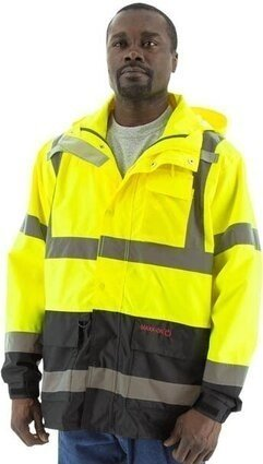 Majestic 75-1307 Hi Vis Waterproof Parka with Concealed Hood - ANSI 3