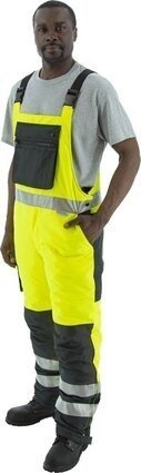 Majestic 75-2357 Hi Vis Waterproof Bib Overalls With Quilted Insulation
