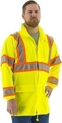 Majestic 75-7301 Hi Vis Waterproof DOT Rain Jacket with Concealed Hood - ANSI 3