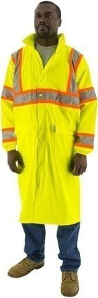 Majestic 75-7303 Hi Vis Waterproof Rain Coat With DOT Striping - ANSI 3
