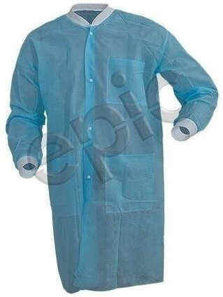 Tian's 843785 Polypropylene Sky Blue Lab Coats with Knit Wrists, Collar and Pockets