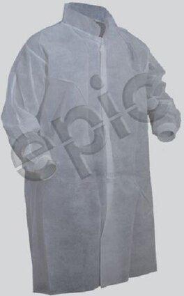 Tian's 845885 Polypropylene Lab Coats with Knit Wrists - No Pockets