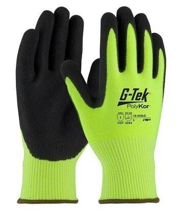 PIP G-Tek 16-343 Hi Vis 13 Gauge Polykor Blended Nitrile Coated Cut Level 3 Gloves With MicroSurface Grip