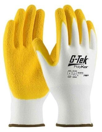 PIP G-Tek 16-813 13 Gauge Polykor Blended Latex Coated Cut Level 3 Gloves With Crinkle Grip