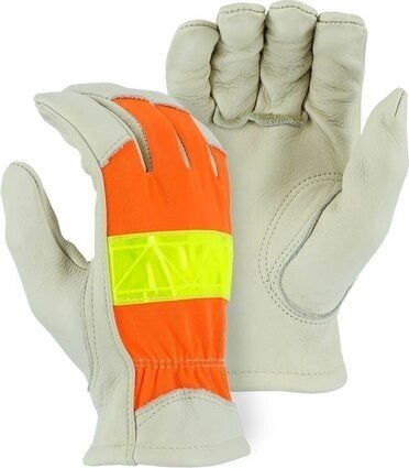 Majestic 1950 Hi Vis Cowhide Drivers Gloves