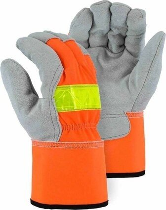 Majestic 1954T Winter Lined Cowhide Leather Palm Hi Vis Drivers Gloves