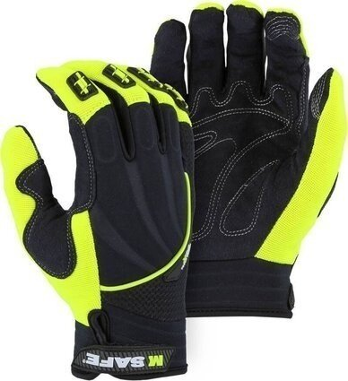 Majestic 2127HY M-Safe Armor Skin Synthetic Leather Hi Vis Yellow Gloves
