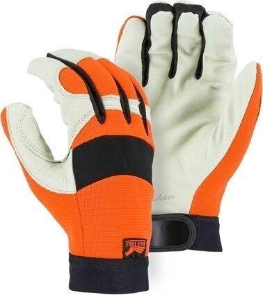 Majestic 2152HV Bald Eagle Hi Vis Mechanics Gloves with Pigskin Palm