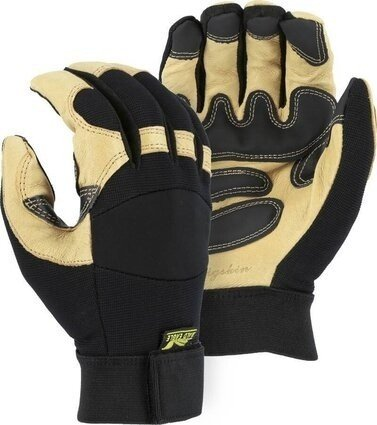 Majestic 2160 Black Eagle Mechanics Gloves with Pigskin Palm and Grip Patches