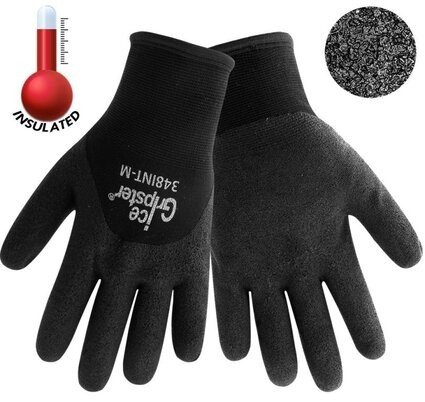 Global Glove Ice Gripster 348INT 3/4 Dipped Black Foam PVC Gloves