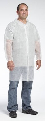 West Chester 3512 Spunbond Polypropylene Lab Coat - No Pockets, Elastic Wrists