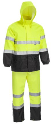 West Chester Hi Vis Black Bottom Waterproof Rain Suit - ANSI 3