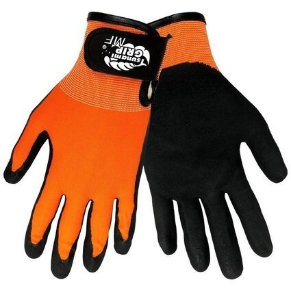 Global Glove #510MFV Tsunami Grip Mach Finish Nitrile Hi Vis Gloves
