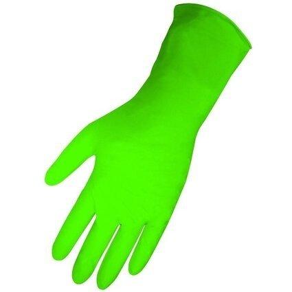 "Global Glove 695PF HD Panther Guard 6 Mil 11"" Cuff Green Nitrile Gloves - Powder Free"