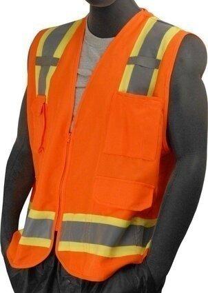 Majestic 75-3223/3224 Hi-Vis Heavy Duty Surveryor's Vest with Mesh Back - ANSI 2