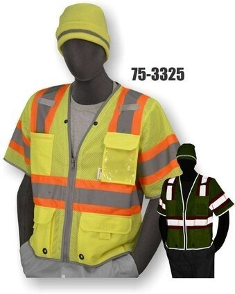 Majestic 75-3325 Hi-Vis Yellow Safety Vest with D-Ring Pass Thru - ANSI 3
