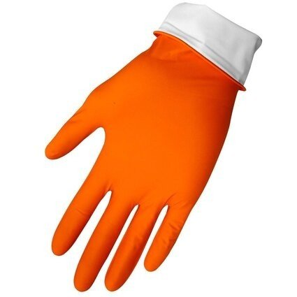 "Global Glove 775PF HD Panther Guard 6 Mil 9.5"" Cuff Orange Nitrile Gloves - Powder Free"
