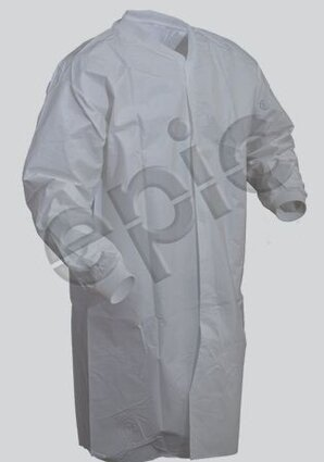 Tian's 846855 Tyvek-like Lint Free Film Coated Cleanroom Frock - No Pockets
