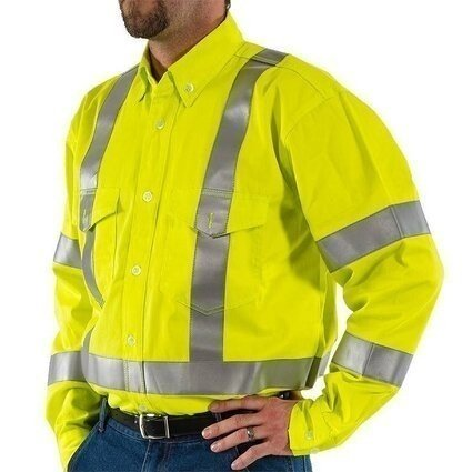 Majestic 95810 BlazeTEX FR Hi Vis Button Down Work Shirt