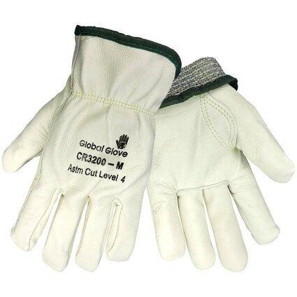 Global Glove CR3200 Premium Cow Grain Gloves - Aralene Cut Resistant Liner