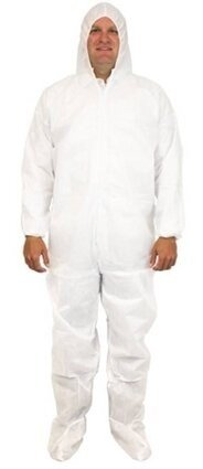 Safety Zone DCWF-SMS 50 Gram SMS Coveralls with Hood and Boots, Elastic Cuffs