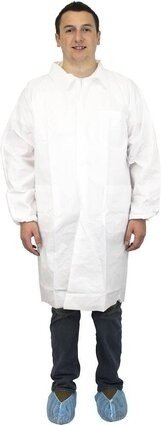 Safety Zone DLWH-BB 60 Gram Breathable Microporous Lab Coats with Pockets, Elastic Wrists
