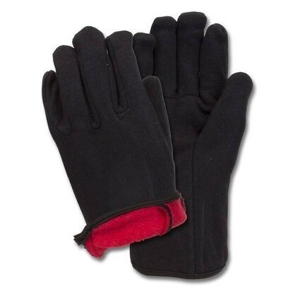 Safety Zone Brown Jersey Gloves with Red Fleece Lining - Case/12 Dozen