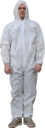Tian's 226853 Microporous White Coveralls with Hood