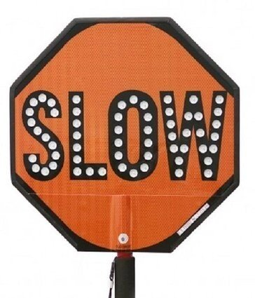 "Stop-Lite 18"" LED Red/Orange Stop/Slow Paddle Sign"