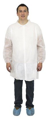 Safety Zone DLWH/DLBL-ENP-EW Polypropylene Lab Coats - No Pockets, Elastic Wrists