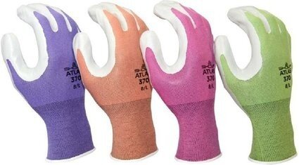 Showa Atlas 370 Garden Gloves in 4 Assorted Colors - 4 Pack