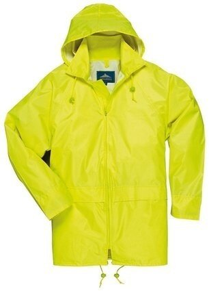 Portwest US440 Economy Waterproof Rain Jacket with Pack Away Hood and  Zipper Closure