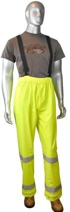 Radians RW25P-EZGV Hi Vis Waterproof Rain Pants with Detachable Suspenders