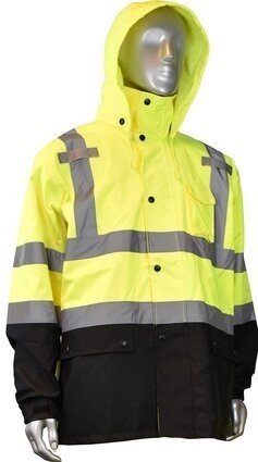 Radians RW30-3Z1Y Hi Vis Waterproof Black Bottom Rain Jacket - Detachable Hood