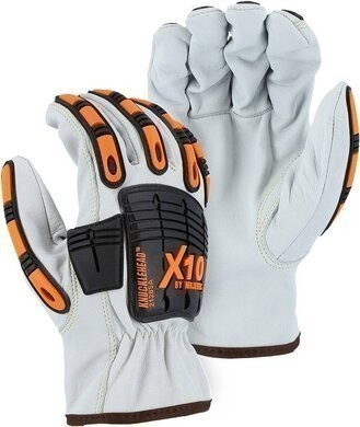 Majestic 21285A Cut-less Kevlar X10 Goatskin Drivers Glove with Impact Protection - ANSI Cut Level A6