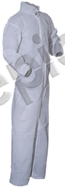 Tian's Polypropylene White Coveralls with Elastic Wrists