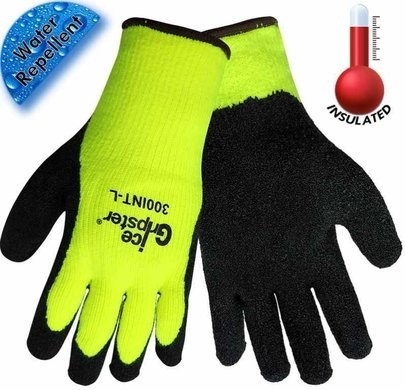Global Glove Ice Gripster 300INT Hi Vis Winter Gloves - 4 Pair Pack