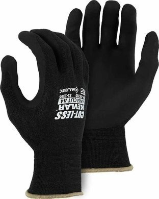Majestic 31-1365 Cut-Less Kevlar 18 Gauge Knit Gloves with Foam Nitrile Palm