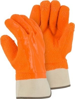 Majestic Heavy Grit PVC Winter Work Gloves with Safety Cuff - Size Large