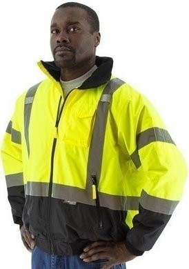 Majestic 75-1311 Hi Vis Black Bottom Bomber Jacket - ANSI 3