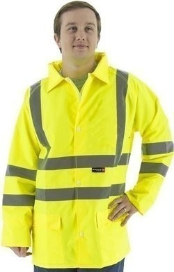Majestic Hi Vis Waterproof Rain Jacket with Hood - Optional Matching Pants - ANSI 3