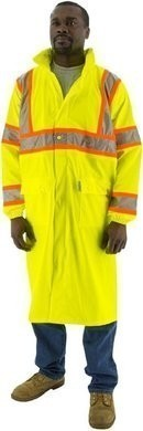 Majestic Hi Vis Waterproof Rain Coat With DOT Striping - ANSI 3