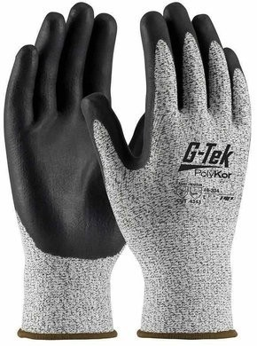 PIP G-Tek 16-334 Seamless Knit Polykor Blended Nitrile Coated Cut Level 3 Gloves With Foam Grip