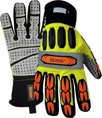 Boss 1JM600 Hi-Vis Impact Gloves with PVC Dotted Palms