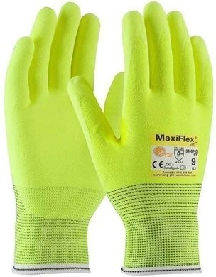 PIP MaxiFlex 34-8743FY Hi Vis Micro Foam Nitrile Coated Cut Level 3 Gloves